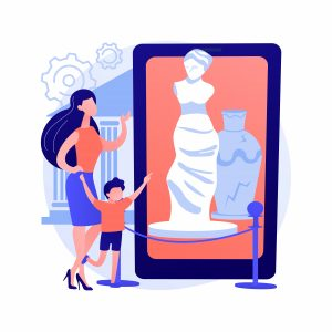 Madre e hijo hacen visita virtual a museo